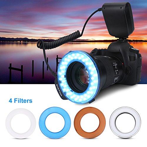 LED Ringblitz, 48 LEDS Makro Ringblitzleuchte, Makrofotografie-Licht mit LCD Display Power Control, 4 Blitzdiffusoren, 8 Adapterringe für Nikon Canon Panasonic Olympus Pentax SLR Kamera
