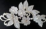 Iron on Bügel Blumen Aufnäher Aufbügler Patches Flicken Sticker-Ei Bügelbilder Applikation groß Bestickt zum aufbügeln Blume Creme Weiss 17cm