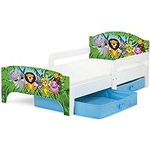 Cama para niños, con colchón 140/70 cm y cajones. Animales de la selva.