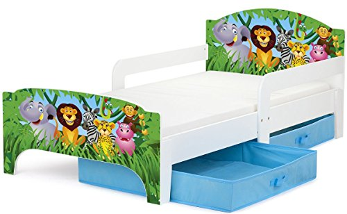 #Leomark Kinderbett mit BLAU Schubladen für Bettwäsche und Matratze 140 x 70 Motiv: Tiere.#