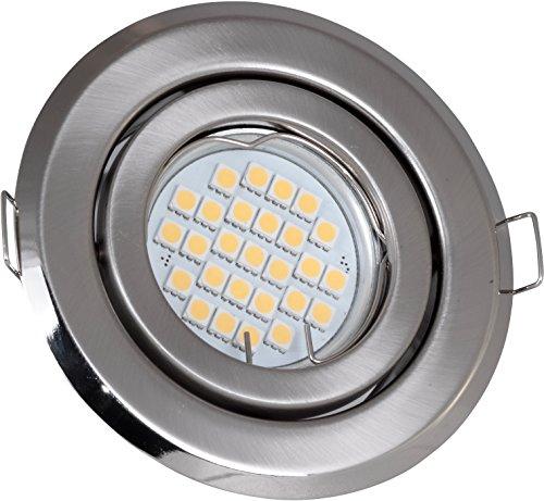 Set Einbaustrahler Edelstahl gebürstet schwenkbar 5 Watt 230V Super LED warmweiß 450 Lumen 3000 Kelvin | GU10 Fassung inklusive | Spot Downlight Einbauleuchte Deckenleuchte Beleuchtung