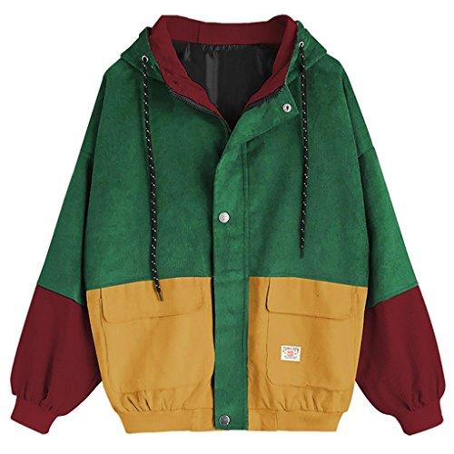Rcool Cappotto Donna Velluto Coste Moda Cotone Giacca Maglione con Cappuccio Giacca Sottile Inverno Cerniera Giacca Vento Outwear