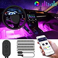 Luz Interior Coche con APP, Minger Tira luces 72 LED, Música Activada por el Micrófono, Impermeable LED Flexible para Coche