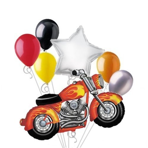 Snarly Motorcycle Balloon Bouquet Set 7pc