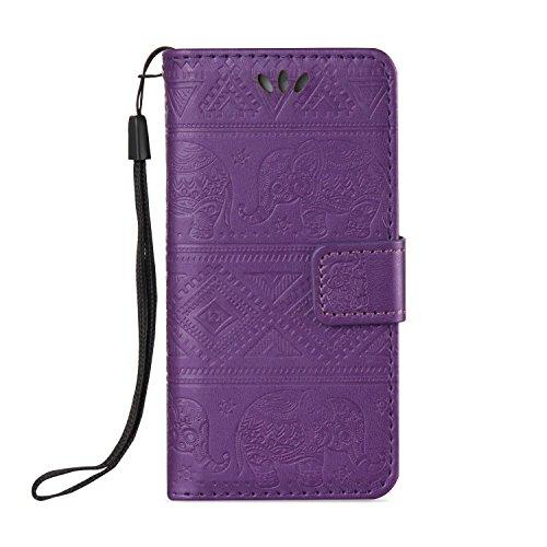 Für Apple IPhone 5s & SE Premium Leder Schutzhülle, weiche PU / TPU geprägte Textur Horizontale Flip Stand Case Cover mit Lanyard & Card Cash Holder ( Color : Brown ) Purple