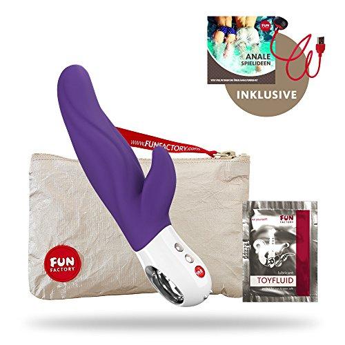 Fun Factory LADY BI violett DER Vibrator für sie Klitoris und G-Punkt (Set inkl. tollen Zubehör) Silikon Dual Stimulation lang 18,8 cm Akku Made in Germany