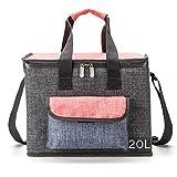 Große Kühltasche, isoliert Picknicktasche/Lunch-Tasche, wasserdicht, faltbar, modern, für Erwachsene, für Camping, Strand, Ausflüge, Grillen, 20L (Grau--20L)