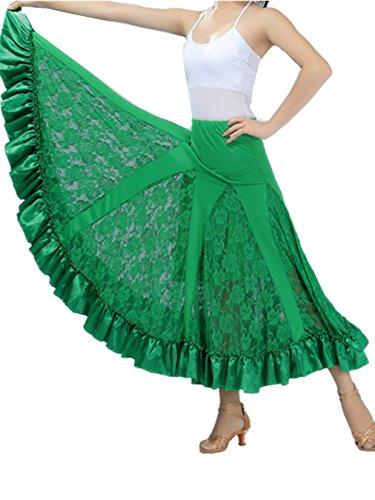 Flamenco Rock Frau Standard Ballsaal Tanzen Lange Swing Kleid Modern Walzer Tango Spitze die Röcke (Social Dance Kostüme)
