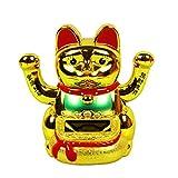 HAAC Solar Winkekatze Katze GLÜCKSKATZE Glücksbringer mit 2 Hände 10 cm Farbe Gold