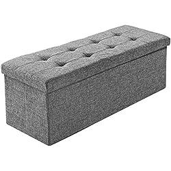 TecTake Tabouret pliant banc pouf dé pliable coffre siège de rangement boîte 110x38x38cm - diverses couleurs au choix - (gris clair | No. 402239)