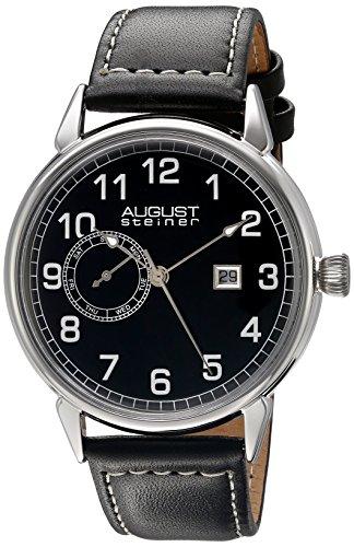 August Steiner Hommes de montre à quartz avec affichage analogique et bracelet en cuir noir cadran noir as8182ssb