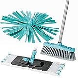 Lifetime clean 5-teiliges Boden Reinigungs-Set |1 Stiel - 3 Aufsätze | Inkl. Bodenmop, waschbarem Microfasertuch, Besen und Synthetikmop (Blau)