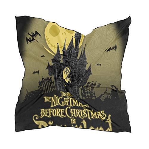Bennigiry Damen Schal Nightmare Before Christmas, bedruckt, klein, quadratisch, Polyester, Satin, gemischt, 60 x 60 cm - Nightmare Before Christmas-schal