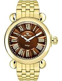 Glam Rock Vintage Damen-Armbanduhr 40mm Armband Gold beschichtetes Edelstahl + Gehäuse Batterie GR28042-BR