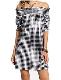 LILICAT Damen Sommer Blusenkleid Vintage Strand Minikleid Chic Baumwolle Kleid  Elegant Abendkleider Frauen Mode Aus Schulter 7c644c26bb
