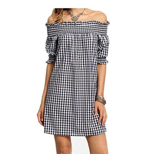 LILICAT Damen Sommer Blusenkleid Vintage Strand Minikleid Chic Baumwolle Kleid Elegant Abendkleider Frauen Mode Aus Schulter Plaid Kleid Prüfen Bekleidung Casual Bodycon (L, Schwarz B) (Plaid Bustier)