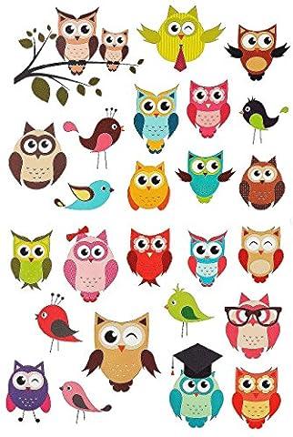 27 tlg. Set: Wandsticker / Sticker - lustige Eulen - auch als Fensterbild / Fenstersticker - Tiere Vögel - selbstklebend wiederverwendbar - Wandtattoo Aufkleber - Wandaufkleber für Kinderzimmer auf Ast - Eule