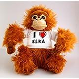 Orangután de peluche (juguete) con Amo Elka en la camiseta (nombre de pila/apellido/apodo)