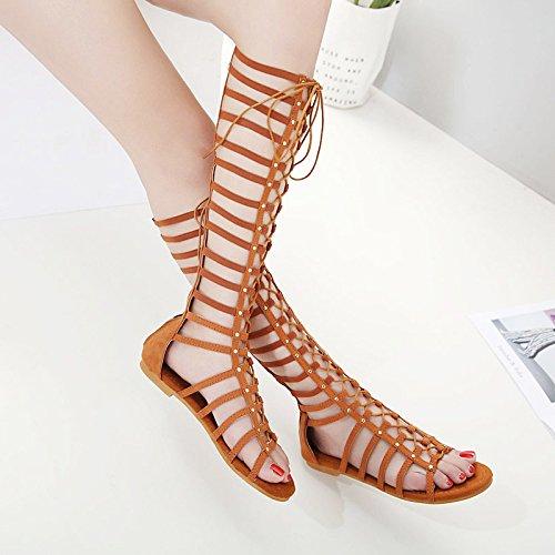Lixibei Gladiator Sandalen für Frauen, stilvolle Western Cowboy-Stil Knie Höhe Sandalen Sommer Strand Böhmen Kleid Schuhe braun schwarz,Brown,38 (Brown-frauen-kleid-schuhe)