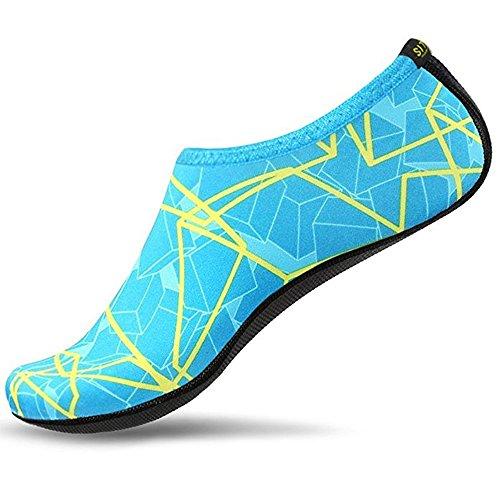 SITAILE Sommer Aqua Schuhe Barfuß Weich Wassersport Yoga Schuhe Strandschuhe Schwimmschuhe Surfschuhe für Damen Herren,Grün, Kinder,S,EU25-26