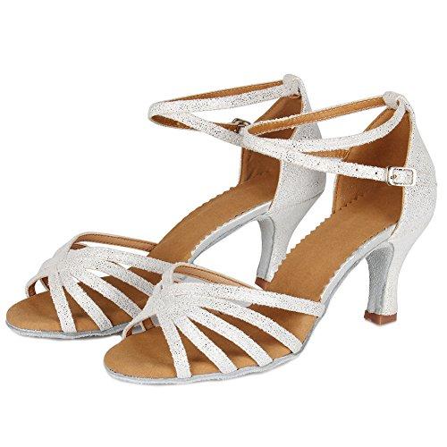 SWDZM Damen Ausgestelltes Tanzschuhe/Standard Latin Dance Schuhe Satin Ballsaal ModellD1810 Weiß 36EU/22.5CM - 3