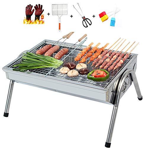 Leichter Holzkohlegrill, Tragbarer Grillgrill, der BBQ-Grillen faltet für Garten, Camping, Party, Grill mit Grillhandschuhen, Grillen, gegrillten Clips, Bürsten