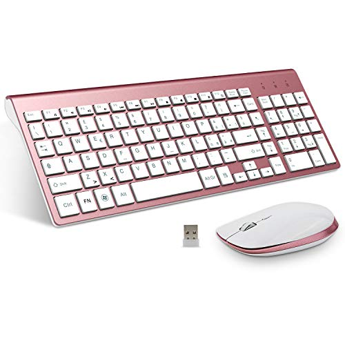 FENIFOX Tastiera Wireless, Mouse Tastiera Wireless a QWERTY Layout Italiano, Kit Keyboard Mouse Wireless 2.4G, Pulsante Silenzioso, Compatibili Mac/Windows/Tablet-Rosa