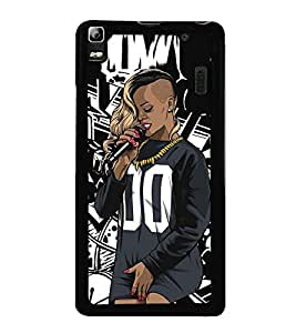 Fuson Premium 2D Back Case Cover dj With Brown Background Degined For Lenovo A7000