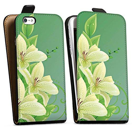 Apple iPhone X Silikon Hülle Case Schutzhülle Lilie Blume Lilly Downflip Tasche schwarz