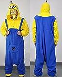 Disfraz de Minion, forro polar, unisex, mono, pijama, disfraz con capucha, color azul y amarillo, algodón, azul, S (150-163 cm)