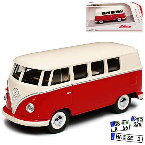 Volkwagen T1 Rot Weiss Samba Bully Bus 1950-1967 1/64 Schuco Modell Auto mit individiuellem Wunschkennzeichen (Miniatur 1 64)