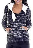 LEIF NELSON Damen Strick-Pullover | Frauen Basic Hoodie mit Kapuze | Damen Pulli Langarm-Sweatshirt | Das Beste in Kleidung Frauen LN10235 | Größe XL, Schwarz-Ecru