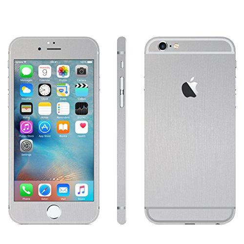 IPHONE 6 / 6S SILBER GEBÜRSTET FOLIE SKIN ZUM AUFKLEBEN bumper case cover schutzhülle i phone (Iphone 4 Gold Aufkleber Skin)