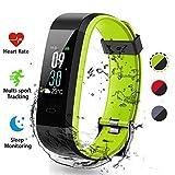 Lacyie Fitness Armband Uhr mit Pulsmesser Intelligente Uhr Fitness Tracker Schrittzähler Doppeltes Farben Bluetooth Fitness Tracker IP68 Wasserdicht SchlafMonitor Kompatibel mit Android & IOS (Grün)