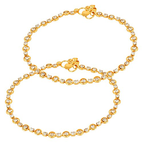 Charms Diamond Studded Gold Anklet For Women/Girls