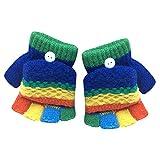CLOOM Fingerhandschuh Kinder Winter Handschuhe Warm Stretchy Gestrickte Bequeme Handschuhe Mädchen Jungen Fäustlinge Soft Handschuh Kälte Handschuhe Fäustel für Kleinkinder 2-6 Jahre alt (Dunkelblau)