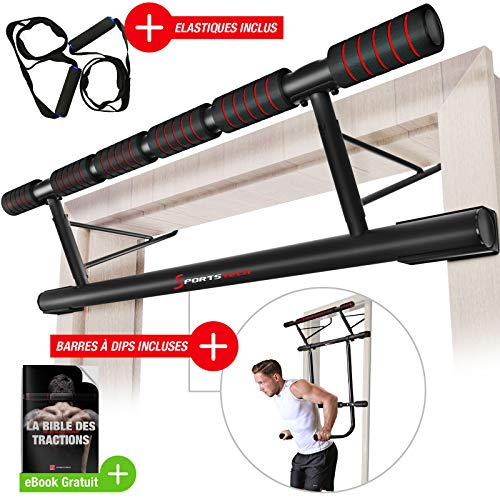 Sportstech Ensemble Unique ! Barre de Traction 4en1 Pliable KS500 pour Cadre de Porte incluant Barre à dips & Elastiques, Montage Facile sans visses, Barre Pull-up, eBook Inclus