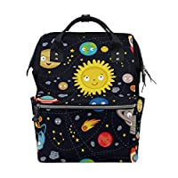 ALINLO Space Stars Planets with Rockets Nappy Changing Bag Diaper Backpack with Large Capacity Multi-Function Pushchair Straps Mummy Tote Bags for Travel Baby Care