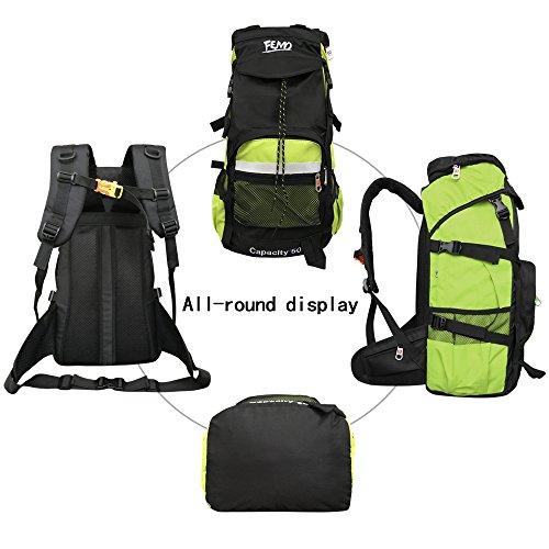 Imagen de  de senderismo femo 50l gran capacidad impermeable tela de nylon senderismo bolsa para hombres y mujeres, verde alternativa