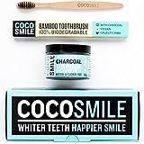 CHARBON ACTIF : Poudre de blanchiment des dents au charbon actif ( activated charcoal teeth whitening ) naturel par cocosmile   avec la brosse à dents en bambou   Fabriqué au Royaume-Uni