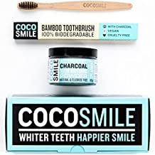 Activated Charcoal blanqueamiento dental Coco Smile | 90 g de polvo de carbón activado | Blanqueamiento de dientes | Carbón activado | Cocosmile | Pasta de dientes de carbón activado con cepillo de dientes de carbón de bambú