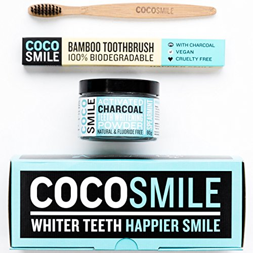Activated Charcoal Teeth Whitening Powder – With Charcoal Bamboo Toothbrush – CocoSmile – Spearmint Flavour – 90g