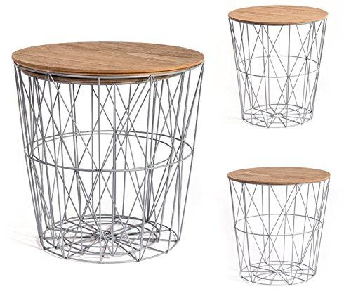 PEGANE Lot de 2 Tables filaires e Bois et métal Coloris Gris