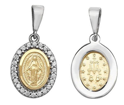 Or 9ct ovale miraculeuse Pendentif sur un collier de Belcher