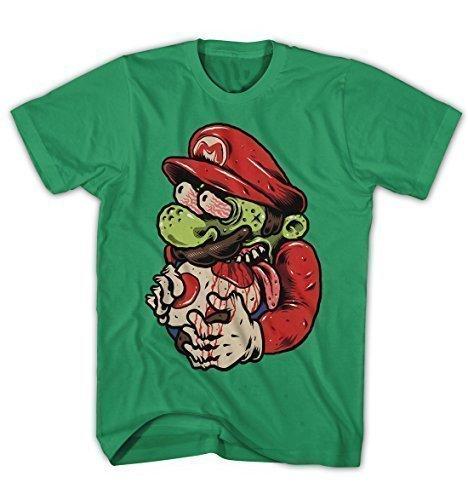 Herren T-Shirt Mario Super Zombie Freak Game Spiel Grün