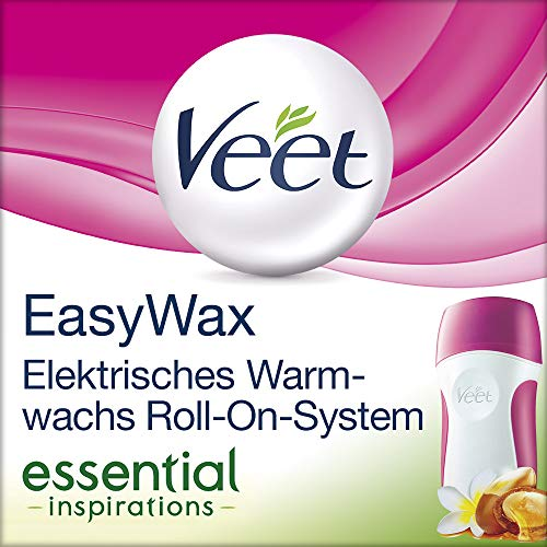 Veet EasyWax Elektrisches Warmwachsgerät mit Roll-On-System - Für bis zu 28 Tage glatte Haut - 1 x Gerät mit Wachspatrone, Vliesstreifen & Pflegetüchern -