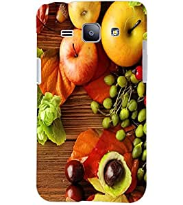 PrintDhaba FRUIT PATTERN D-6417 Back Case Cover for SAMSUNG GALAXY J1 (Multi-Coloured)