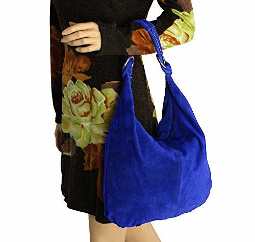 OBC Made in Italy Donna XXL Borsa in pelle Pelle Camoscio Borsa Shopper Borsa A Tracolla Hobo-Bag Borsa marsupio - Nero (Pelle - 47x35x16 cm), in vielen Größen verfügbar Blu reale