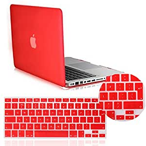 IDACA Red Frosted Matte Hard Shell Case Cover for Macbook Pro 13.3 -inch A1278 Aluminum Unibody with Silicone Keyboard Cover Skin Stickers Protector (European Version)