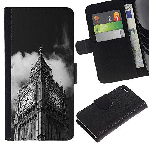 LeCase - Apple Iphone 4 / 4S - Architecture Big Ben Close Up London - U Cuoio Custodia Portafoglio Snello caso copertura Shell armatura Case Cover Wallet Credit Card